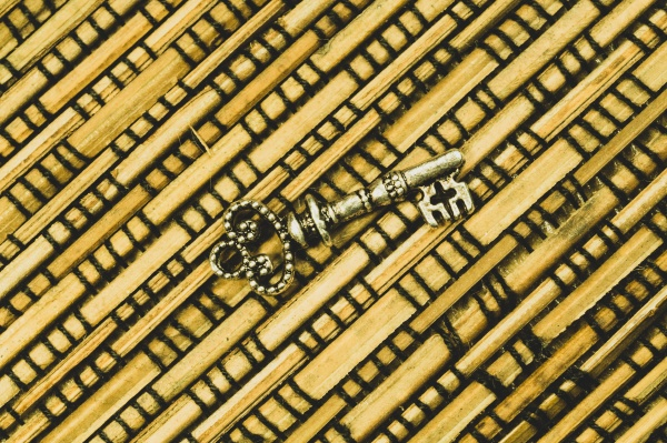 vintage key on the wooden background
