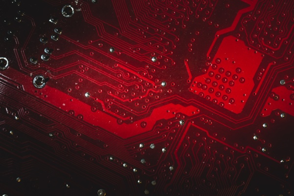 dusty motherboard close up circuit