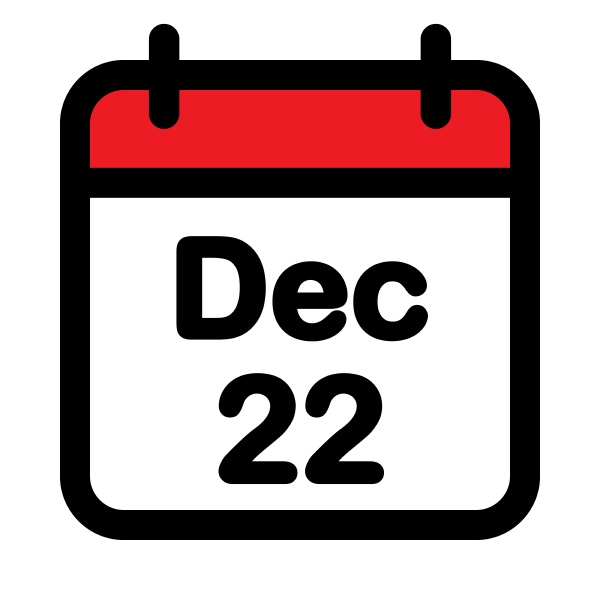 twenty second december calendar icon