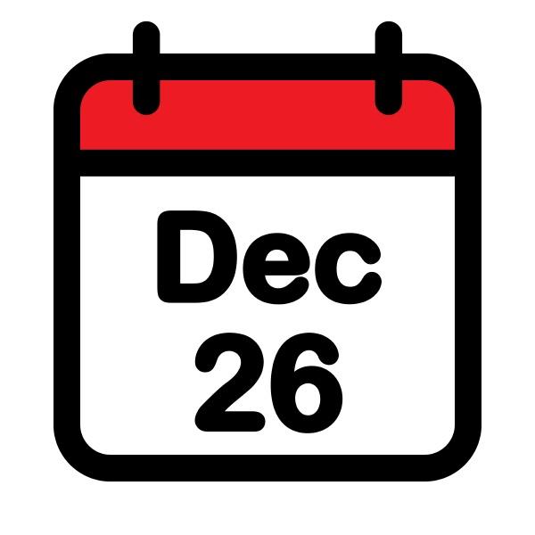 twenty sixth december calendar icon