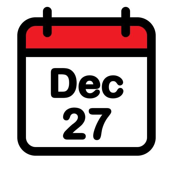 twenty seventh december calendar icon