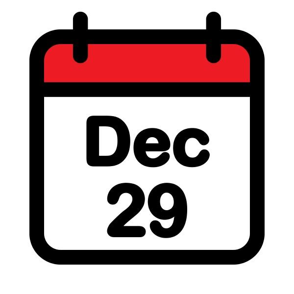 twenty nineth december calendar icon