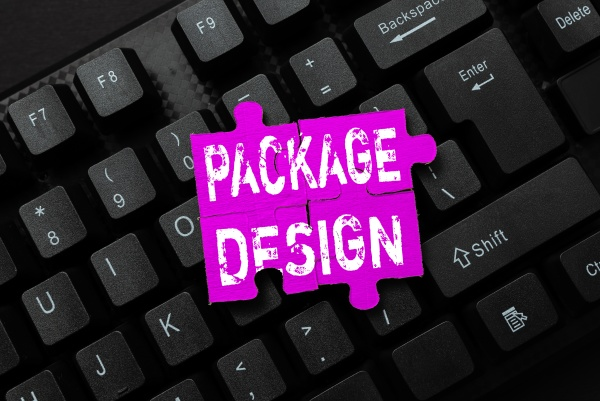 text caption presenting package design