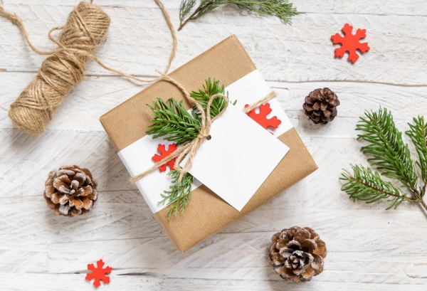 christmas present with square blank gift