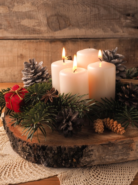 third advent candle burning traditional christmas