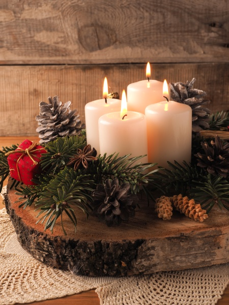 fourth advent candle burning traditional christmas