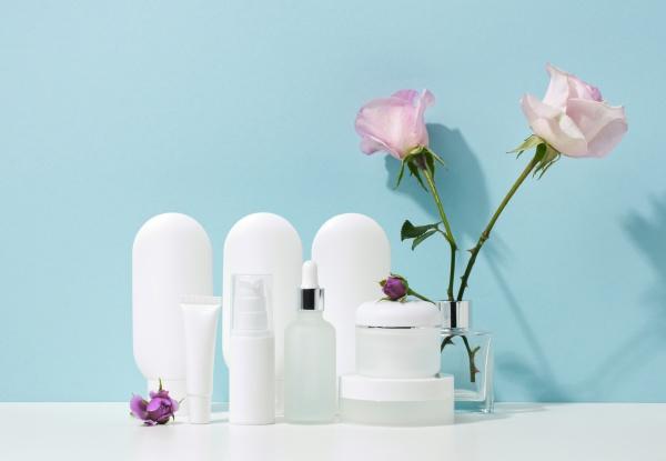 empty white plastic tubes and jars
