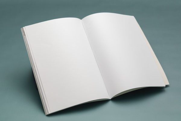 composition of opened book with blank