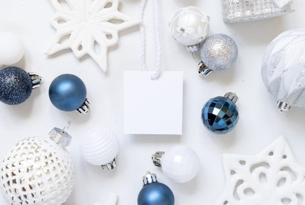 blank square gift tag with christmas