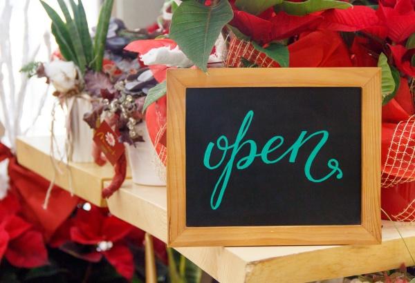 chalkboard open inside a flower shop
