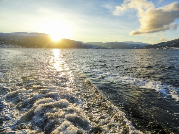winter landscape fjord sunrise sunset norway
