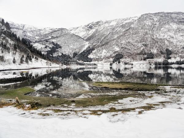 winter landscape at the frozen fjord