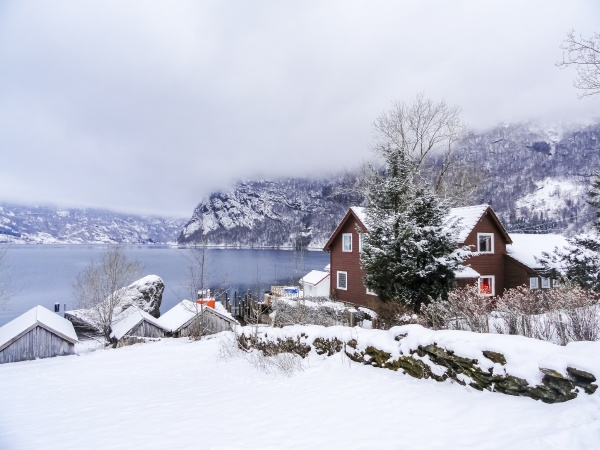 beautiful idyllic view from village to