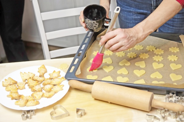 preparing homemade cookies in the shape