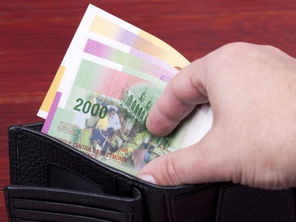 comorian money in black wallet