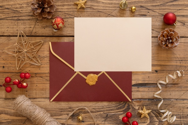 christmas composition with a card and