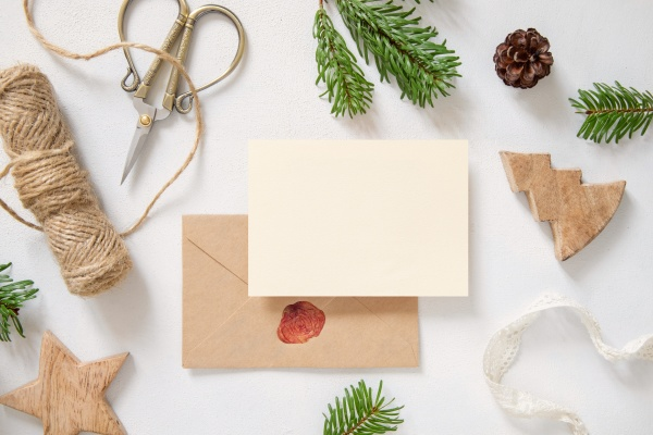 christmas composition with a card over