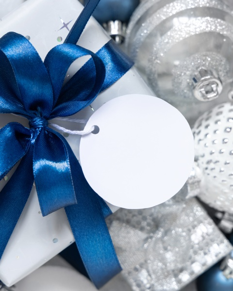 christmas gift box with round blank