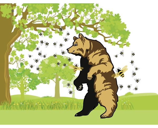 a bear with bees who wants
