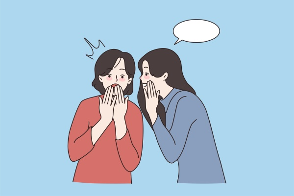 happy girls have fun whisper in
