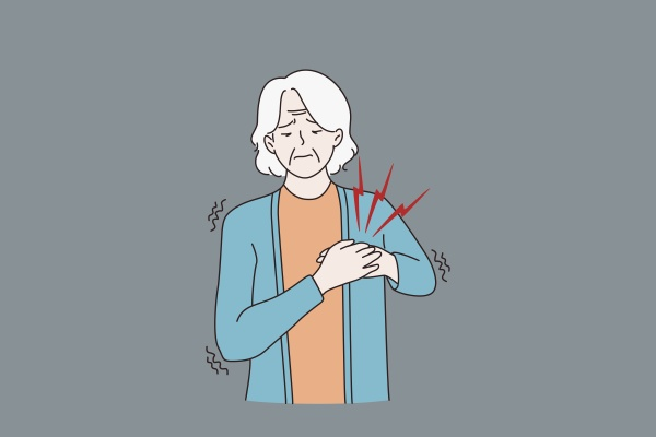 sick old woman feel unwell suffer