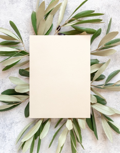 blank card laying on marble table