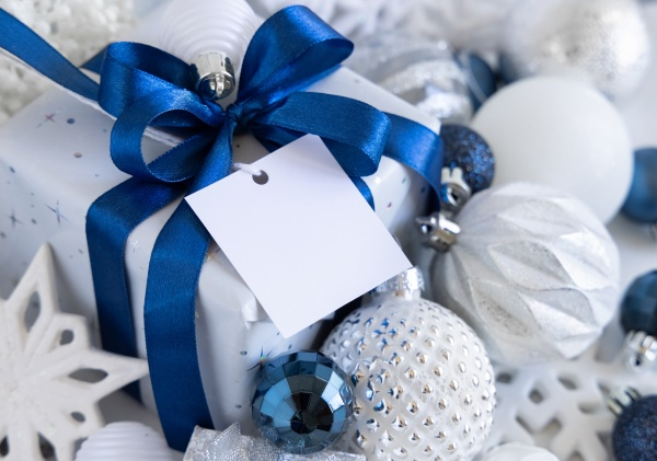 christmas gift box with square blank