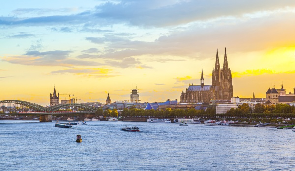 sunset in cologne with dome and