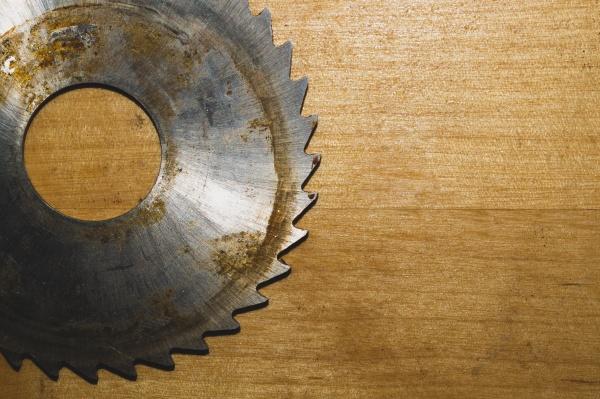 metal circular saw blade on a