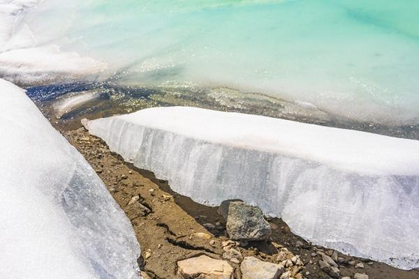 frozen turquoise lake vavatn panorama in