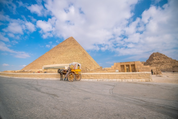 landscape view of the pyramids of