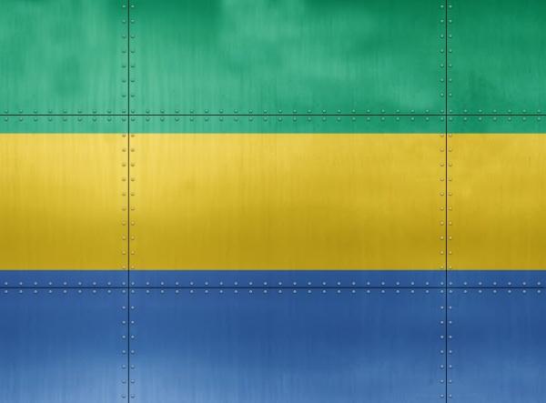 3d flag of gabon on metal