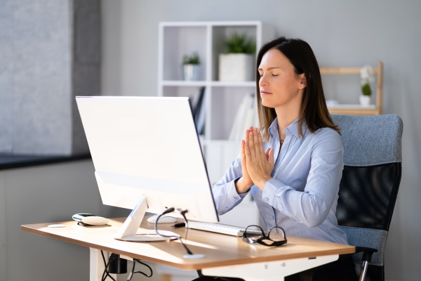 healthy yoga meditation exercise in office