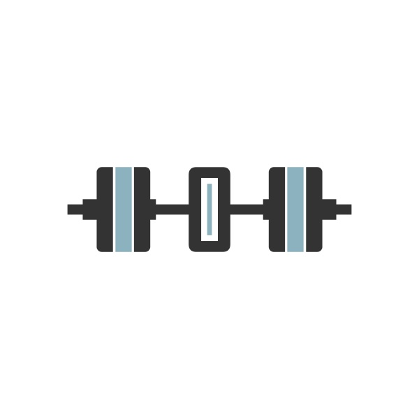 number zero with barbell icon fitness
