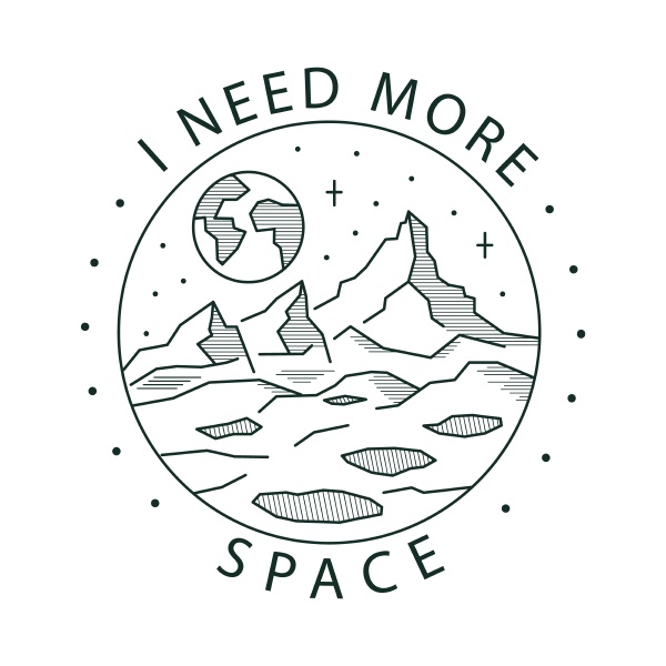 outline illustration space and planet earth