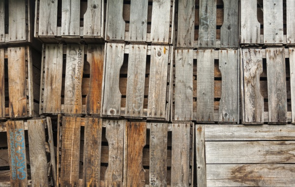empty fruit crates stapled for next