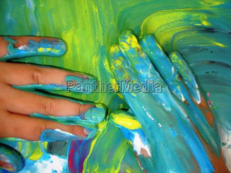 fingerpaint, blue-yellow - 150096