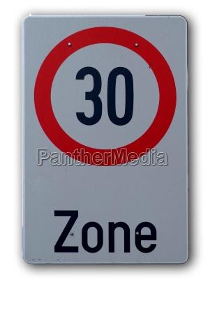sign 30 kph zone beginning