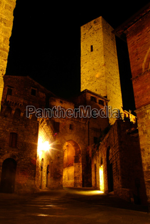 lantern at night in san gimignano