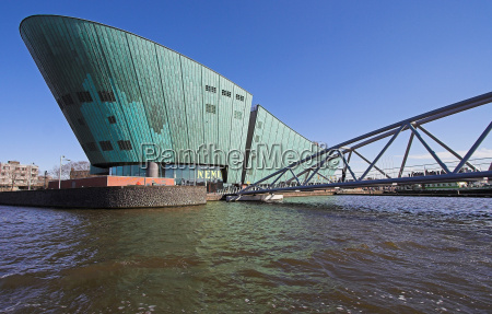 blue green bridge wide angle holland