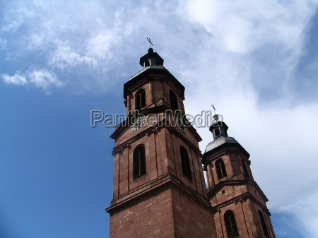 blue church city town towers firmament