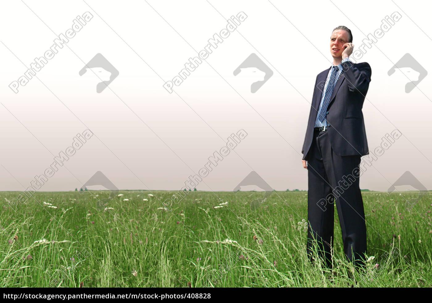telephony, render, businessman, on, meadow - 408828