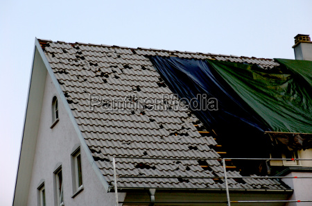 roof damaged by hail