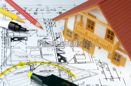house model on ground plan drawing