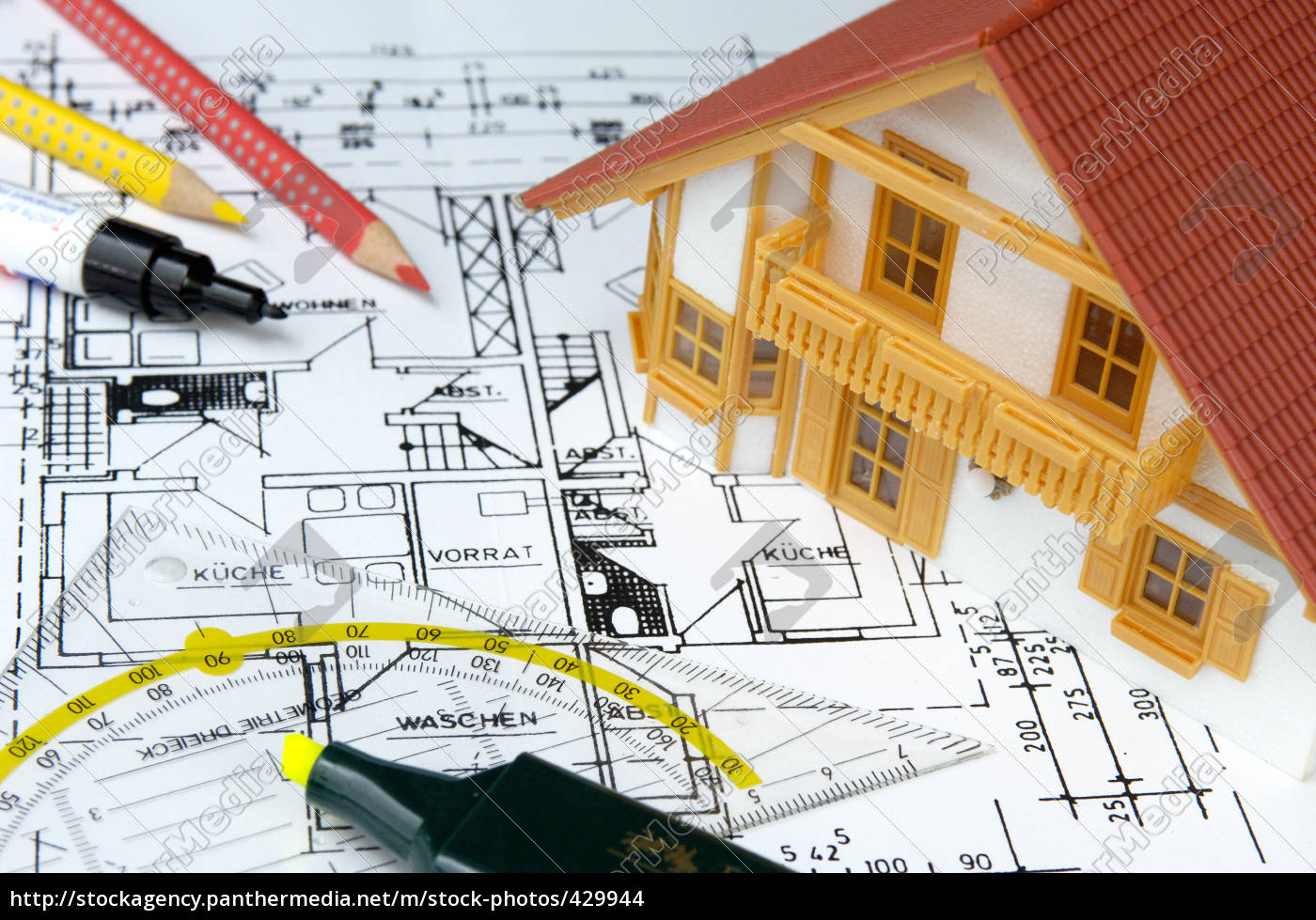 house, model, on, ground, plan, drawing - 429944