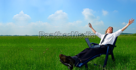 businessman in deckchair