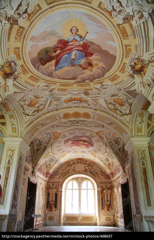 castle, rosenau, ceiling, fresco - 468637