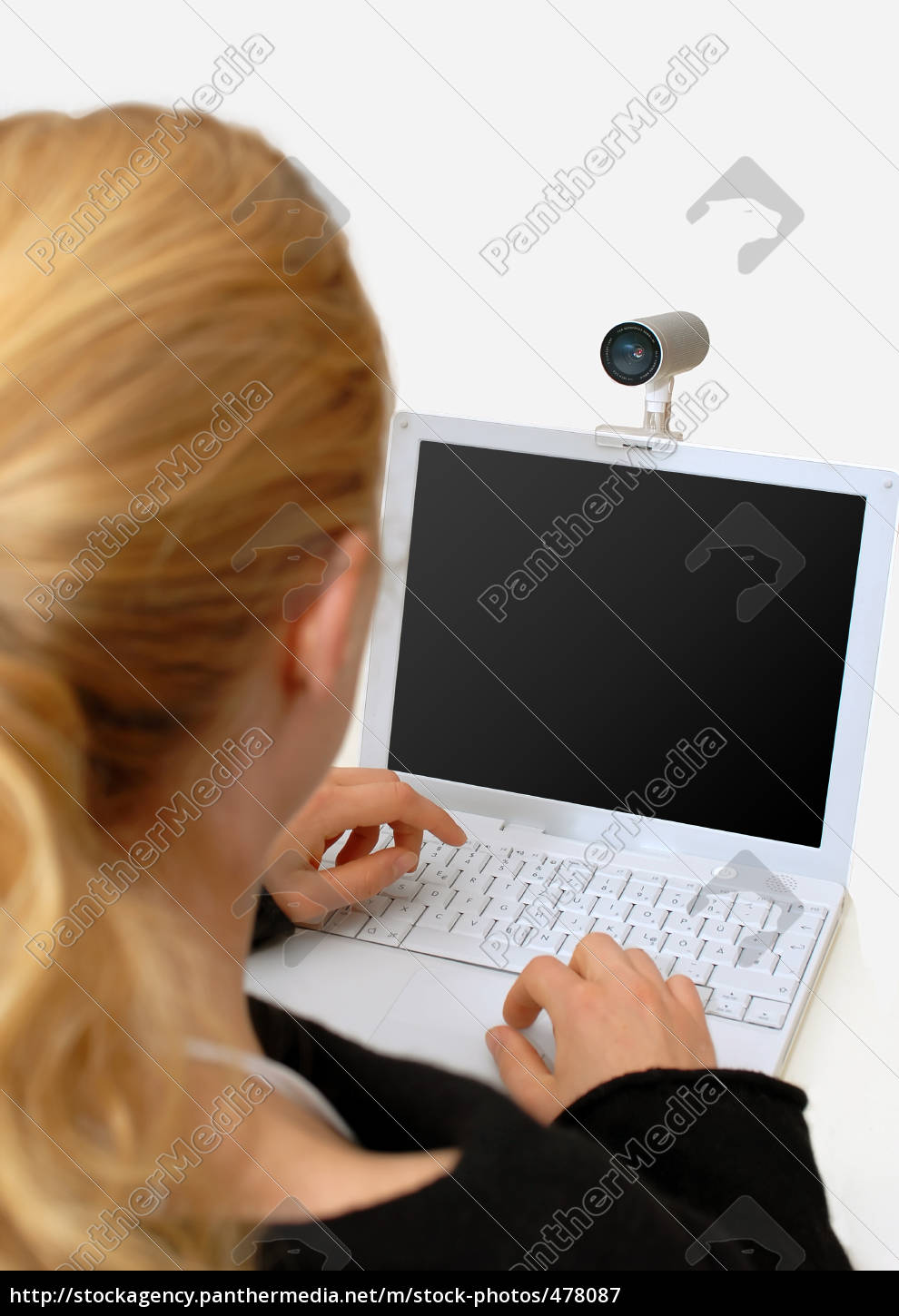 woman, with, laptop, and, webcam - 478087