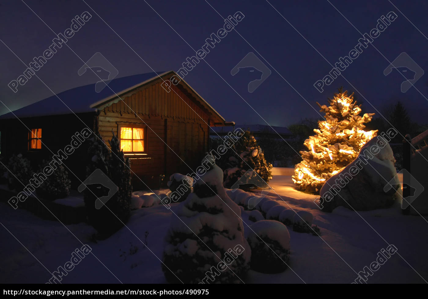 cottage, with, christmas, tree - 490975