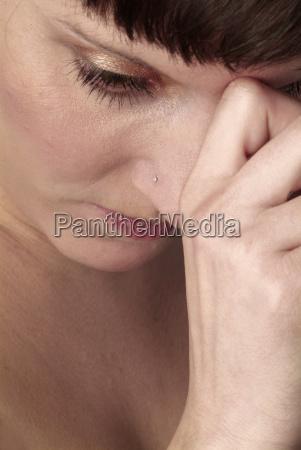 woman is shy